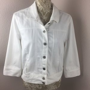 Christopher & Banks White Denim Jean Jacket PM